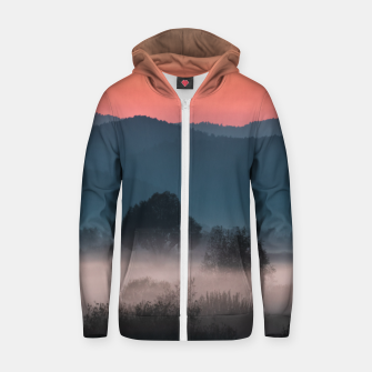 Imagen en miniatura de Foggy landscape at sunset Zip up hoodie, Live Heroes