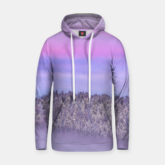 Thumbnail image of Foggy snow covered spruce forest at sunset Hoodie, Live Heroes