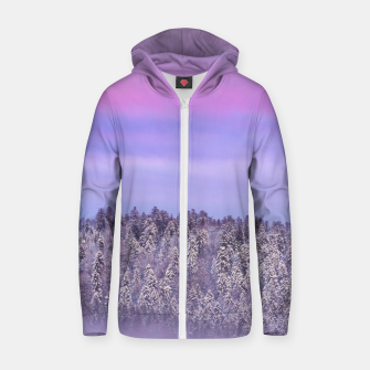 Thumbnail image of Foggy snow covered spruce forest at sunset Zip up hoodie, Live Heroes