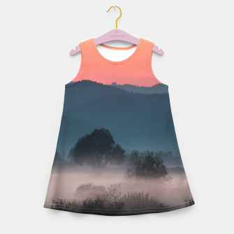 Imagen en miniatura de Foggy landscape at sunset Girl's summer dress, Live Heroes
