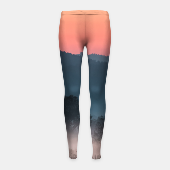 Imagen en miniatura de Foggy landscape at sunset Girl's leggings, Live Heroes