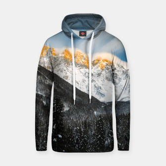 Thumbnail image of Last light of sunset on Slovenian Alps Hoodie, Live Heroes