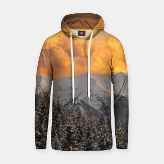 Thumbnail image of Orange clouds above mountains and spruce forest Hoodie, Live Heroes