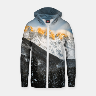 Thumbnail image of Last light of sunset on Slovenian Alps Zip up hoodie, Live Heroes