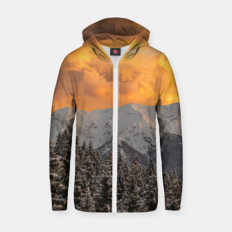 Thumbnail image of Orange clouds above mountains and spruce forest Zip up hoodie, Live Heroes