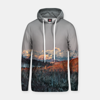 Thumbnail image of Sunset at spruce forest and mountains Hoodie, Live Heroes