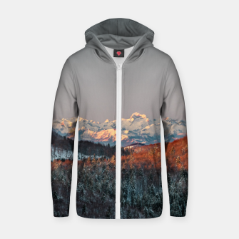 Thumbnail image of Sunset at spruce forest and mountains Zip up hoodie, Live Heroes