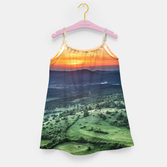 Thumbnail image of Beautiful sunset behind green fields Girl's dress, Live Heroes