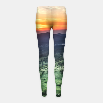 Thumbnail image of Beautiful sunset behind green fields Girl's leggings, Live Heroes