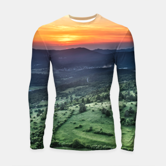 Thumbnail image of Beautiful sunset behind green fields Longsleeve rashguard , Live Heroes