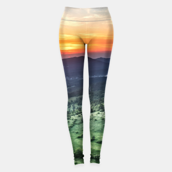 Thumbnail image of Beautiful sunset behind green fields Leggings, Live Heroes