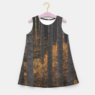 Miniaturka Trees and gold autumn foliage Girl's summer dress, Live Heroes