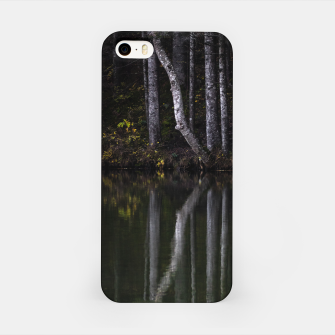 Miniature de image de White trees reflecting in lake iPhone Case, Live Heroes