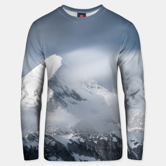 Thumbnail image of Misty clouds over mountain Grintovec, Slovenia Unisex sweater, Live Heroes
