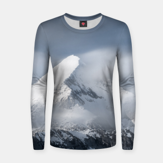 Thumbnail image of Misty clouds over mountain Grintovec, Slovenia Women sweater, Live Heroes