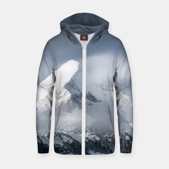 Thumbnail image of Misty clouds over mountain Grintovec, Slovenia Zip up hoodie, Live Heroes