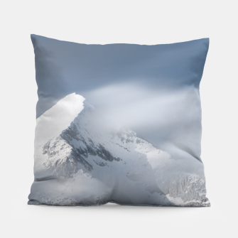 Thumbnail image of Misty clouds over mountain Grintovec, Slovenia Pillow, Live Heroes