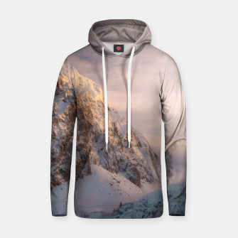 Thumbnail image of Stunning light and fog on mountain Hoodie, Live Heroes
