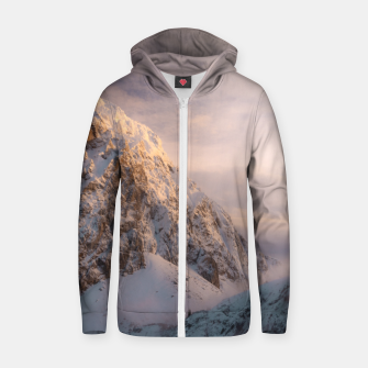 Thumbnail image of Stunning light and fog on mountain Zip up hoodie, Live Heroes