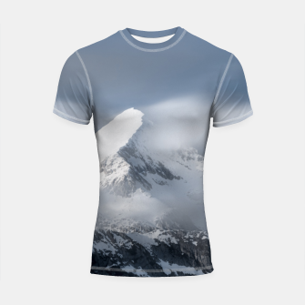 Thumbnail image of Misty clouds over mountain Grintovec, Slovenia Shortsleeve rashguard, Live Heroes