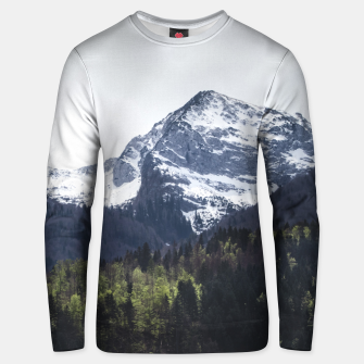 Miniaturka Winter and Spring - green trees and snowy mountains Unisex sweater, Live Heroes