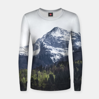 Miniaturka Winter and Spring - green trees and snowy mountains Women sweater, Live Heroes
