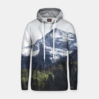 Miniaturka Winter and Spring - green trees and snowy mountains Hoodie, Live Heroes