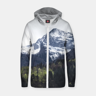 Miniaturka Winter and Spring - green trees and snowy mountains Zip up hoodie, Live Heroes