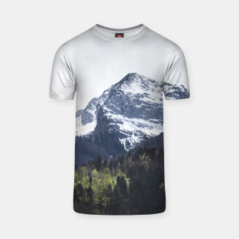 Miniaturka Winter and Spring - green trees and snowy mountains T-shirt, Live Heroes