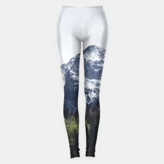 Miniaturka Winter and Spring - green trees and snowy mountains Leggings, Live Heroes