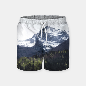 Miniaturka Winter and Spring - green trees and snowy mountains Swim Shorts, Live Heroes