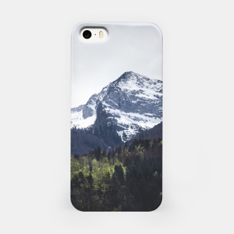 Miniatur Winter and Spring - green trees and snowy mountains iPhone Case, Live Heroes