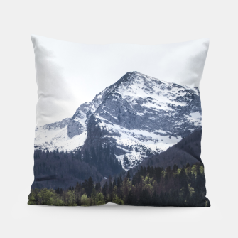 Miniatur Winter and Spring - green trees and snowy mountains Pillow, Live Heroes