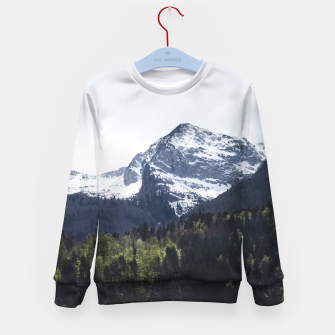 Imagen en miniatura de Winter and Spring - green trees and snowy mountains Kid's sweater, Live Heroes