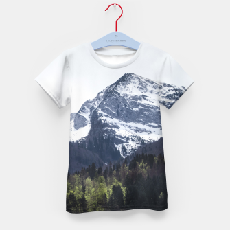 Miniatur Winter and Spring - green trees and snowy mountains Kid's t-shirt, Live Heroes