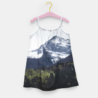 Miniatur Winter and Spring - green trees and snowy mountains Girl's dress, Live Heroes