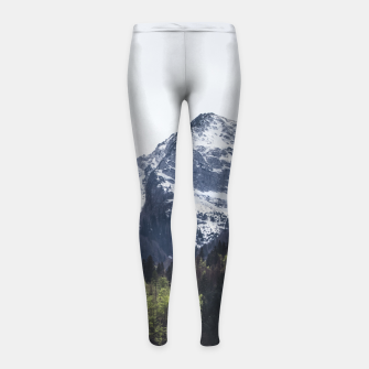Miniatur Winter and Spring - green trees and snowy mountains Girl's leggings, Live Heroes