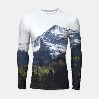 Miniatur Winter and Spring - green trees and snowy mountains Longsleeve rashguard , Live Heroes