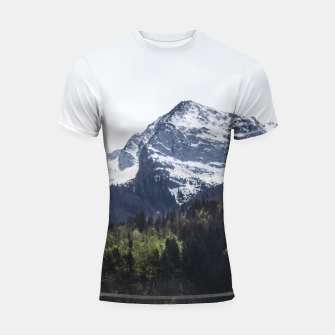 Miniatur Winter and Spring - green trees and snowy mountains Shortsleeve rashguard, Live Heroes