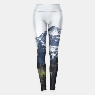 Miniature de image de Winter and Spring - green trees and snowy mountains Leggings, Live Heroes