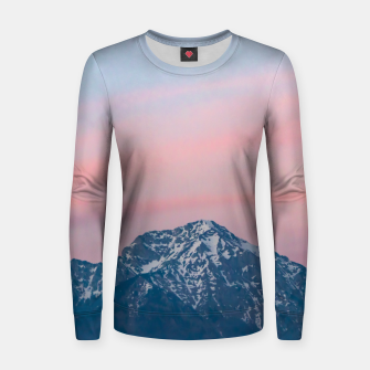 Thumbnail image of Beautiful sunset sky above mountain Storžič, Slovenia Women sweater, Live Heroes