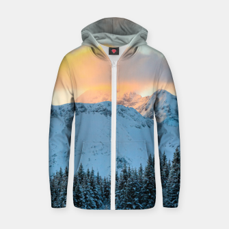 Miniatur Amazing sunset above mountain Triglav, Slovenia Zip up hoodie, Live Heroes