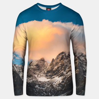 Thumbnail image of Burning clouds over the mountains Unisex sweater, Live Heroes