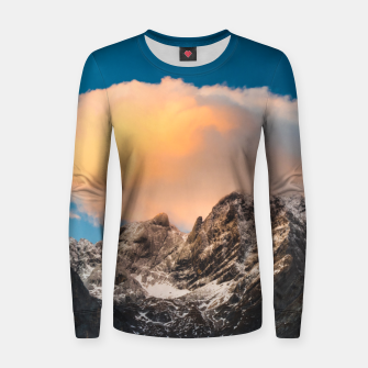 Thumbnail image of Burning clouds over the mountains Women sweater, Live Heroes