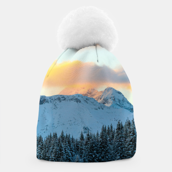 Miniatur Amazing sunset above mountain Triglav, Slovenia Beanie, Live Heroes