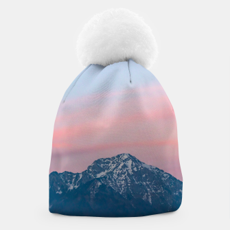 Thumbnail image of Beautiful sunset sky above mountain Storžič, Slovenia Beanie, Live Heroes