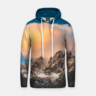 Thumbnail image of Burning clouds over the mountains Hoodie, Live Heroes
