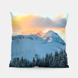 Miniatur Amazing sunset above mountain Triglav, Slovenia Pillow, Live Heroes