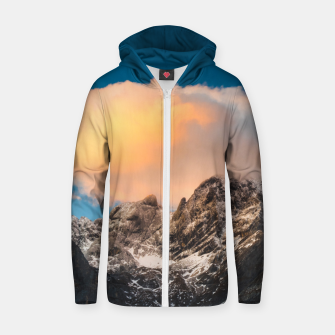 Thumbnail image of Burning clouds over the mountains Zip up hoodie, Live Heroes