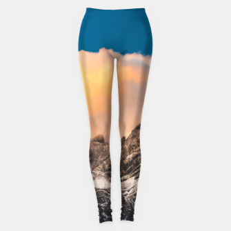 Thumbnail image of Burning clouds over the mountains Leggings, Live Heroes